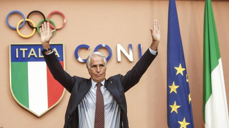 Italian Olympic Committee President Giovanni Malago hold press conference